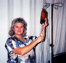 woman preparing for infusion